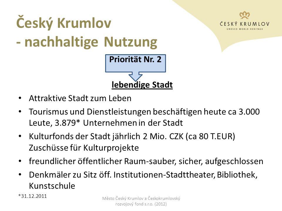 Český Krumlov - nachhaltige Nutzung lebendige Stadt Attraktive Stadt zum Leben Tourismus und Dienstleistungen beschäftigen heute ca 3.000 Leute, 3.879
