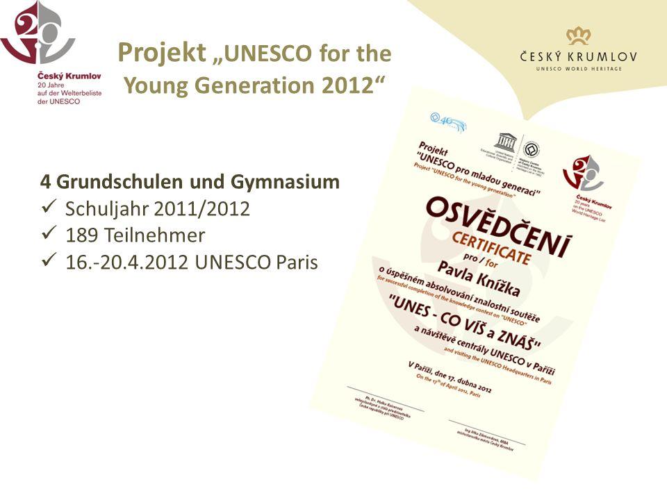 Projekt UNESCO for the Young Generation 2012 4 Grundschulen und Gymnasium Schuljahr 2011/2012 189 Teilnehmer 16.-20.4.2012 UNESCO Paris