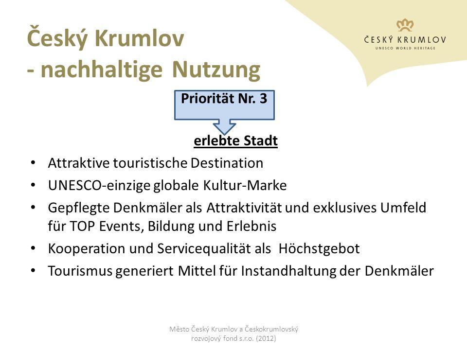 Český Krumlov - nachhaltige Nutzung erlebte Stadt Attraktive touristische Destination UNESCO-einzige globale Kultur-Marke Gepflegte Denkmäler als Attr