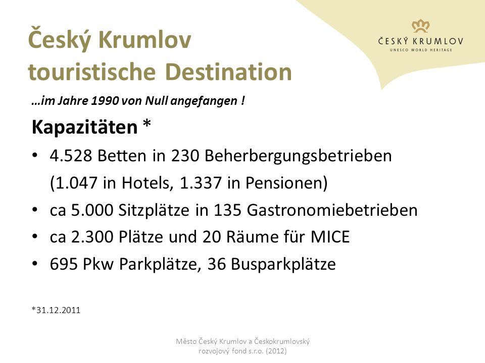 Český Krumlov touristische Destination …im Jahre 1990 von Null angefangen ! Kapazitäten * 4.528 Betten in 230 Beherbergungsbetrieben (1.047 in Hotels,