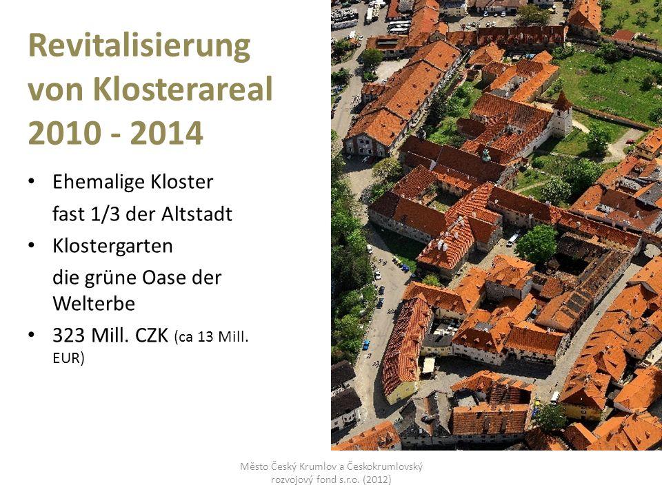 Revitalisierung von Klosterareal 2010 - 2014 Ehemalige Kloster fast 1/3 der Altstadt Klostergarten die grüne Oase der Welterbe 323 Mill. CZK (ca 13 Mi