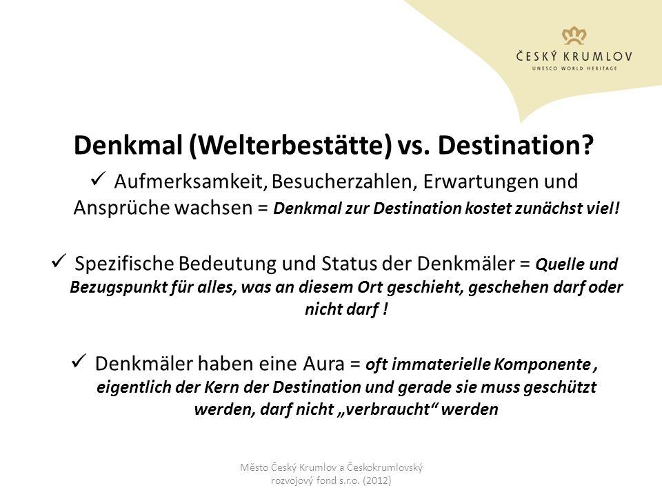 Denkmal (Welterbestätte) vs. Destination? Aufmerksamkeit, Besucherzahlen, Erwartungen und Ansprüche wachsen = Denkmal zur Destination kostet zunächst