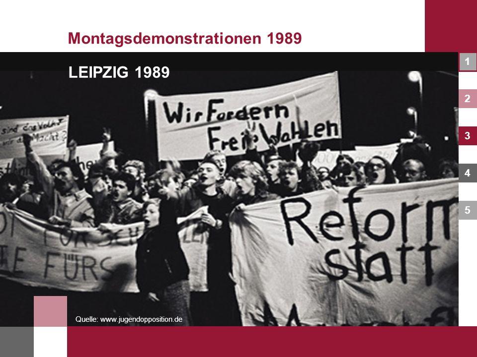 1 2 3 4 5 Montagsdemonstrationen 1989 Quelle: www.jugendopposition.de LEIPZIG 1989