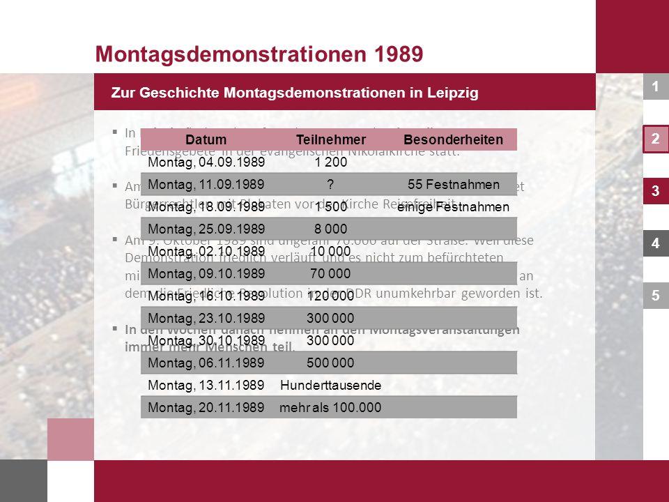 1 2 3 4 5 Montagsdemonstrationen 1989 Zur Geschichte Montagsdemonstrationen in Leipzig In Leipzig finden ab Anfang der 1980er Jahre jeweils montags Fr