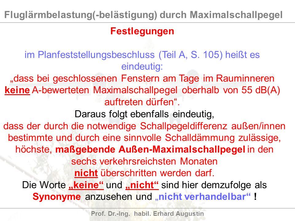 Fluglärmbelastung(-belästigung) durch Maximalschallpegel Prof. Dr.-Ing. habil. Erhard Augustin Festlegungen im Planfeststellungsbeschluss (Teil A, S.