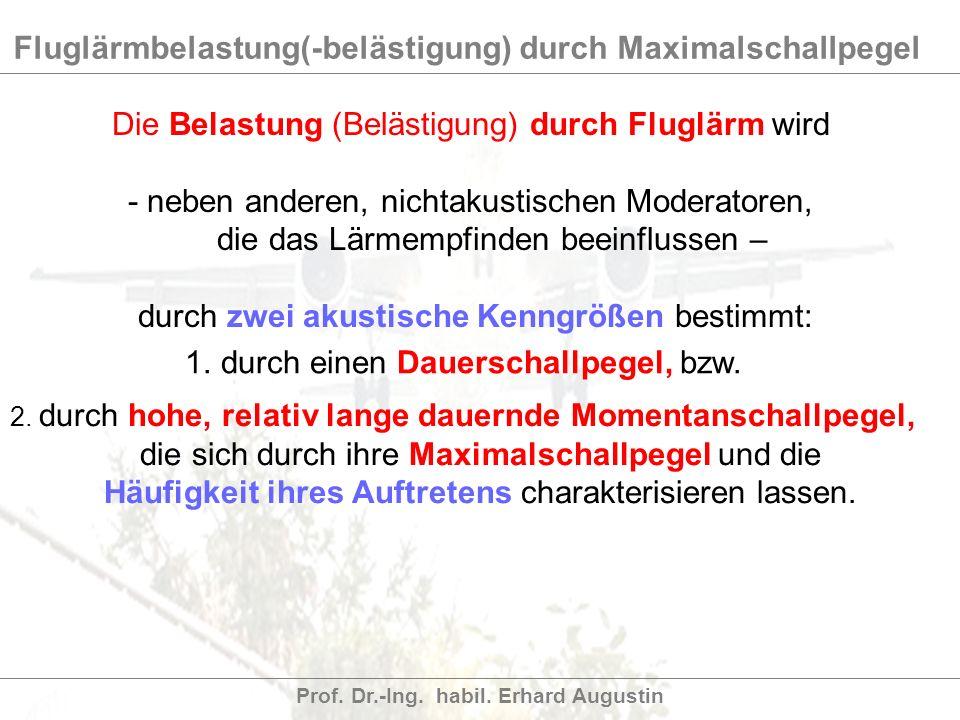 Fluglärmbelastung(-belästigung) durch Maximalschallpegel Prof. Dr.-Ing. habil. Erhard Augustin Die Belastung (Belästigung) durch Fluglärm wird - neben