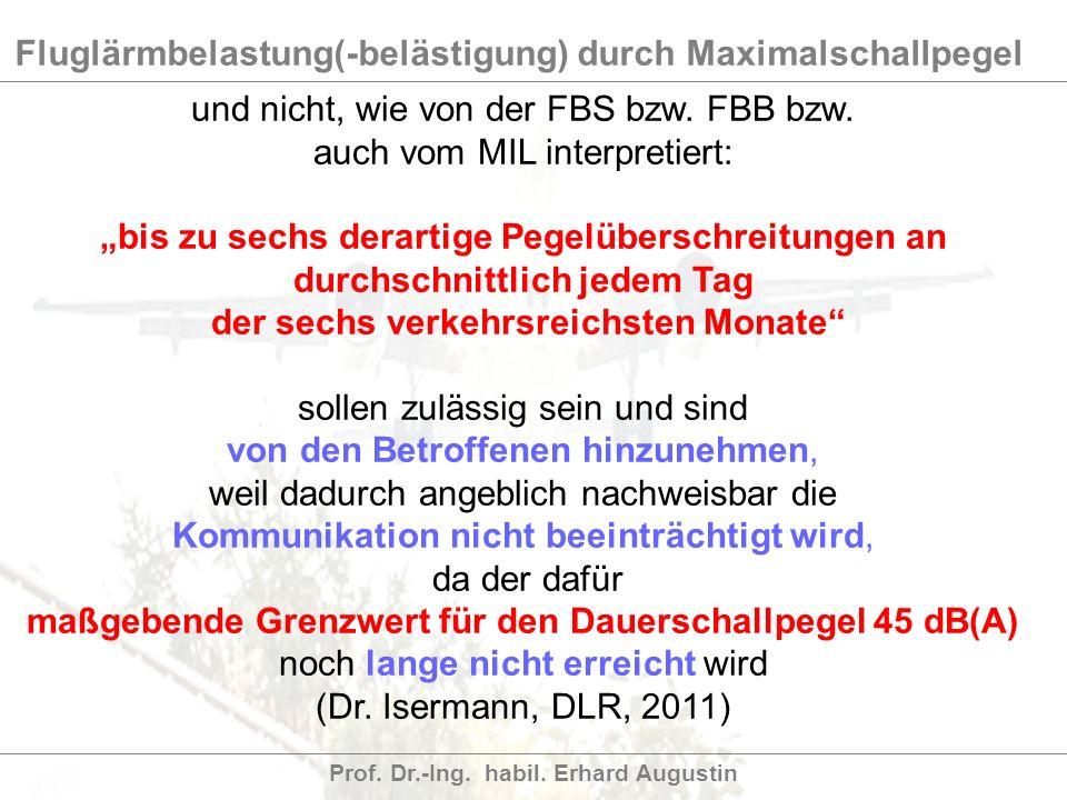 Fluglärmbelastung(-belästigung) durch Maximalschallpegel Prof. Dr.-Ing. habil. Erhard Augustin und nicht, wie von der FBS bzw. FBB bzw. auch vom MIL i