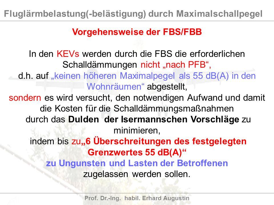 Fluglärmbelastung(-belästigung) durch Maximalschallpegel Prof. Dr.-Ing. habil. Erhard Augustin Vorgehensweise der FBS/FBB In den KEVs werden durch die