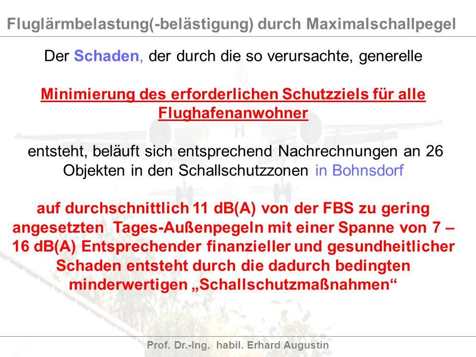 Fluglärmbelastung(-belästigung) durch Maximalschallpegel Prof. Dr.-Ing. habil. Erhard Augustin Der Schaden, der durch die so verursachte, generelle Mi