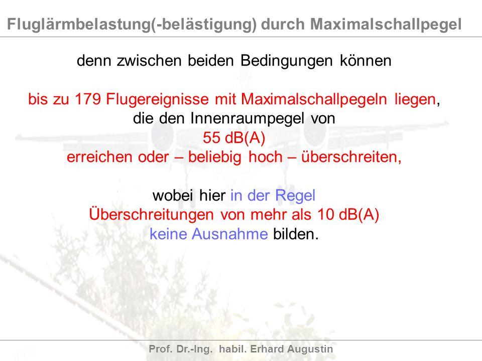Fluglärmbelastung(-belästigung) durch Maximalschallpegel Prof. Dr.-Ing. habil. Erhard Augustin denn zwischen beiden Bedingungen können bis zu 179 Flug