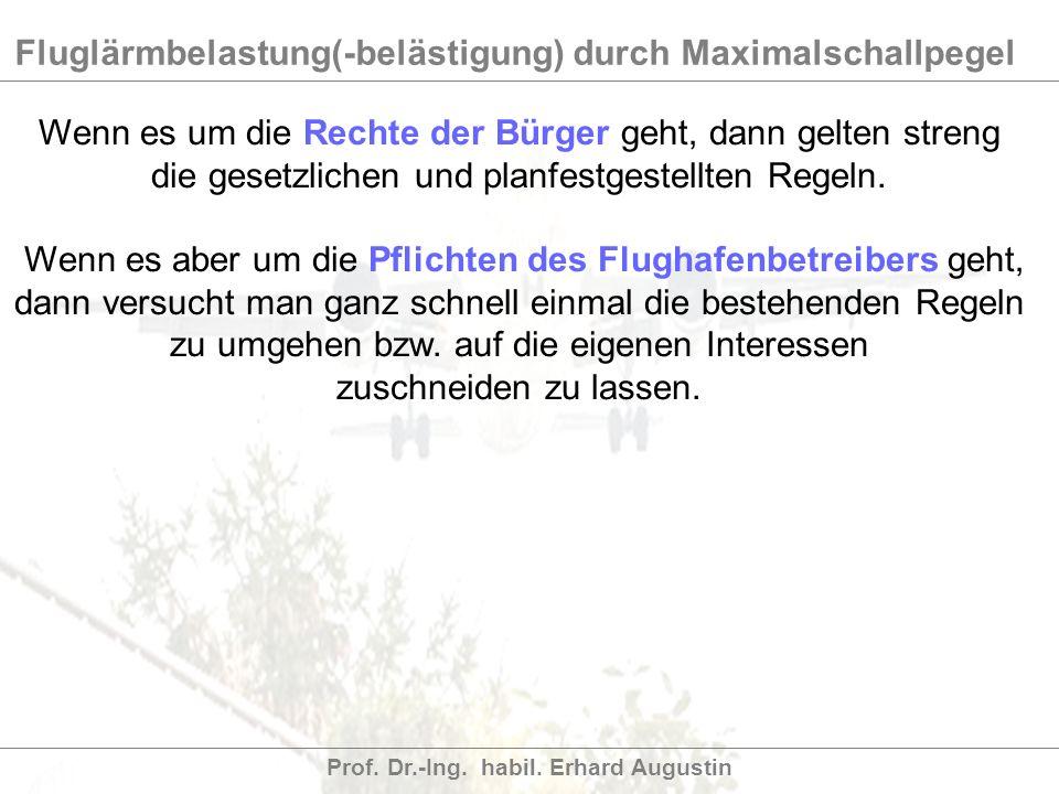 Fluglärmbelastung(-belästigung) durch Maximalschallpegel Prof. Dr.-Ing. habil. Erhard Augustin Wenn es um die Rechte der Bürger geht, dann gelten stre