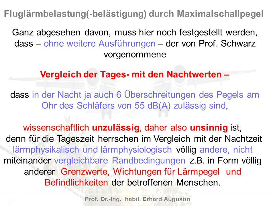 Fluglärmbelastung(-belästigung) durch Maximalschallpegel Prof. Dr.-Ing. habil. Erhard Augustin Ganz abgesehen davon, muss hier noch festgestellt werde