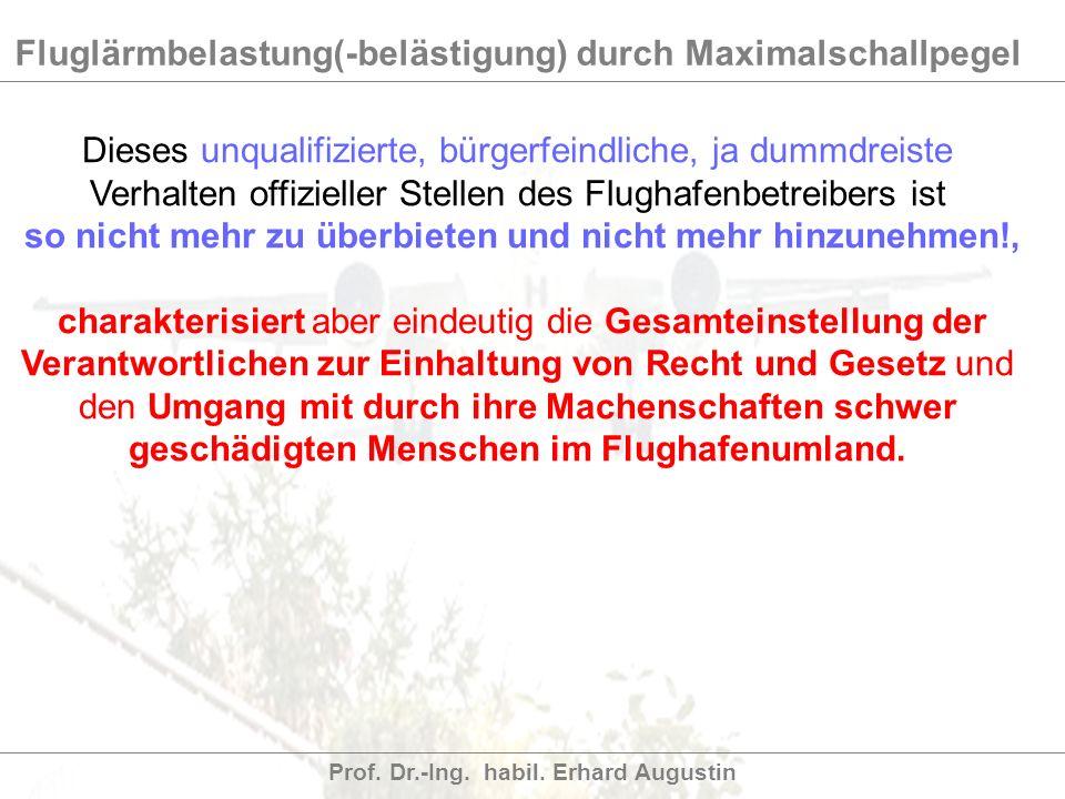Fluglärmbelastung(-belästigung) durch Maximalschallpegel Prof. Dr.-Ing. habil. Erhard Augustin Dieses unqualifizierte, bürgerfeindliche, ja dummdreist
