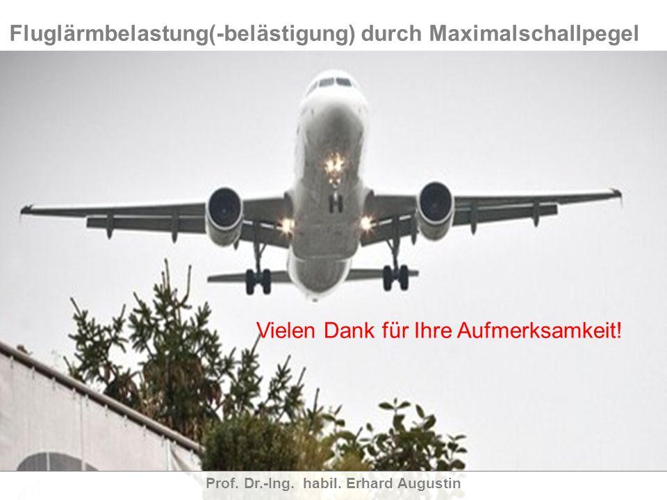 Fluglärmbelastung(-belästigung) durch Maximalschallpegel Prof. Dr.-Ing. habil. Erhard Augustin Ich danke für Ihre Aufmerksamkeit ! Vielen Dank für Ihr