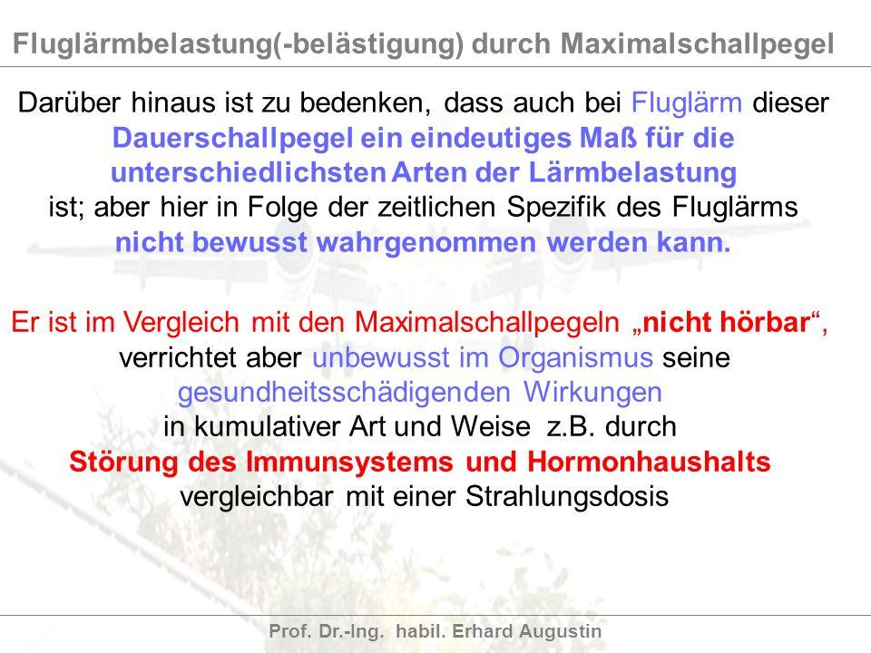 Fluglärmbelastung(-belästigung) durch Maximalschallpegel Prof. Dr.-Ing. habil. Erhard Augustin Darüber hinaus ist zu bedenken, dass auch bei Fluglärm