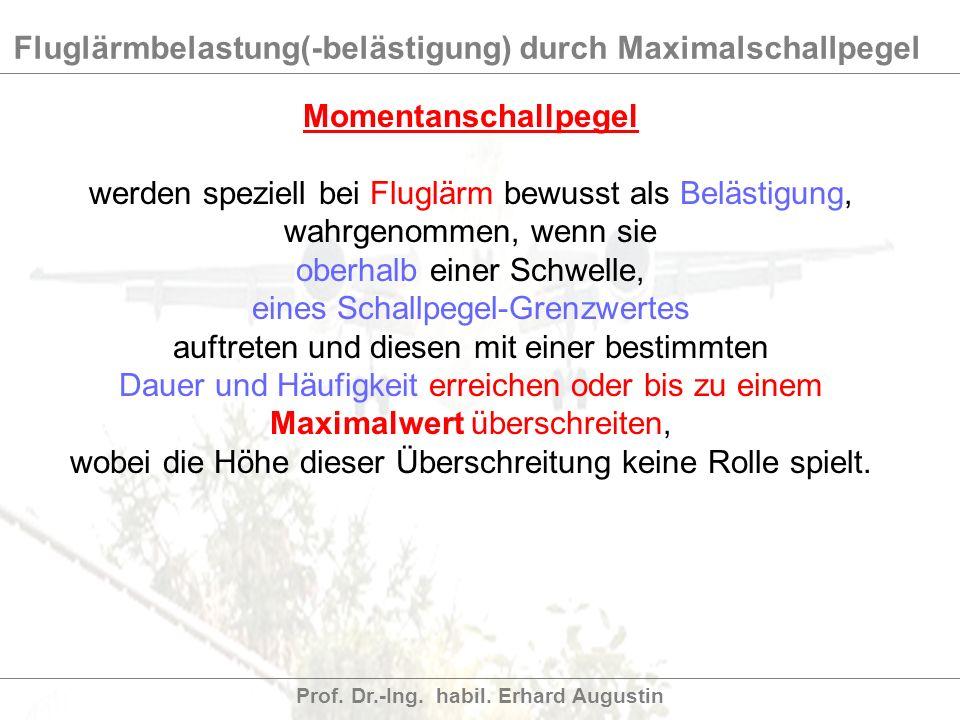 Fluglärmbelastung(-belästigung) durch Maximalschallpegel Prof. Dr.-Ing. habil. Erhard Augustin Momentanschallpegel werden speziell bei Fluglärm bewuss