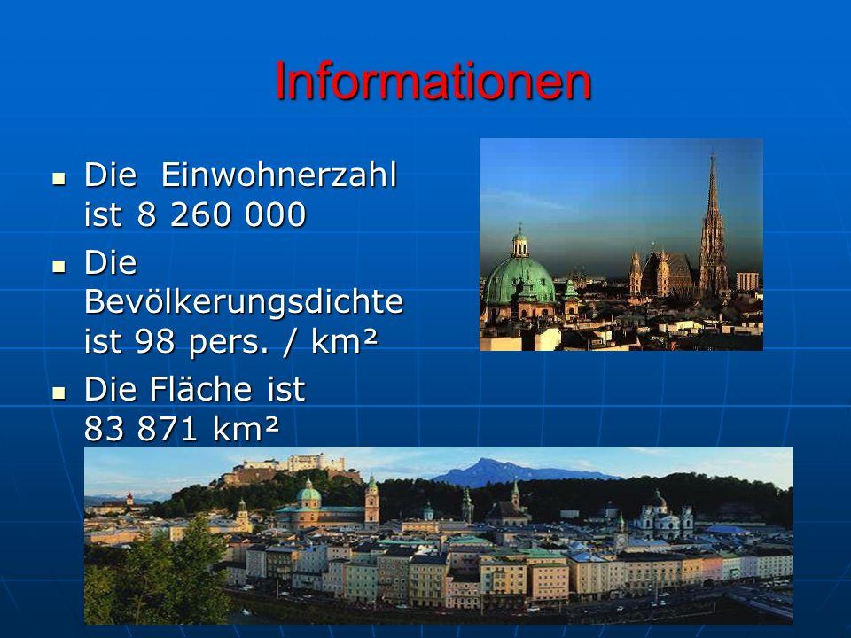 Informationen Informationen Die Einwohnerzahl ist 8 260 000 Die Einwohnerzahl ist 8 260 000 Die Bevölkerungsdichte ist 98 pers.