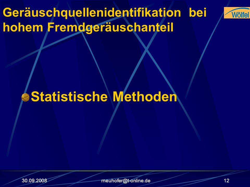 30.09.2008rneuhofer@t-online.de12 Geräuschquellenidentifikation bei hohem Fremdgeräuschanteil Statistische Methoden