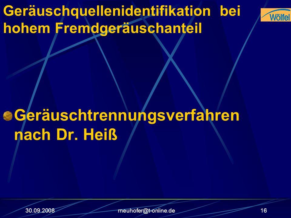 30.09.2008rneuhofer@t-online.de16 Geräuschquellenidentifikation bei hohem Fremdgeräuschanteil Geräuschtrennungsverfahren nach Dr. Heiß
