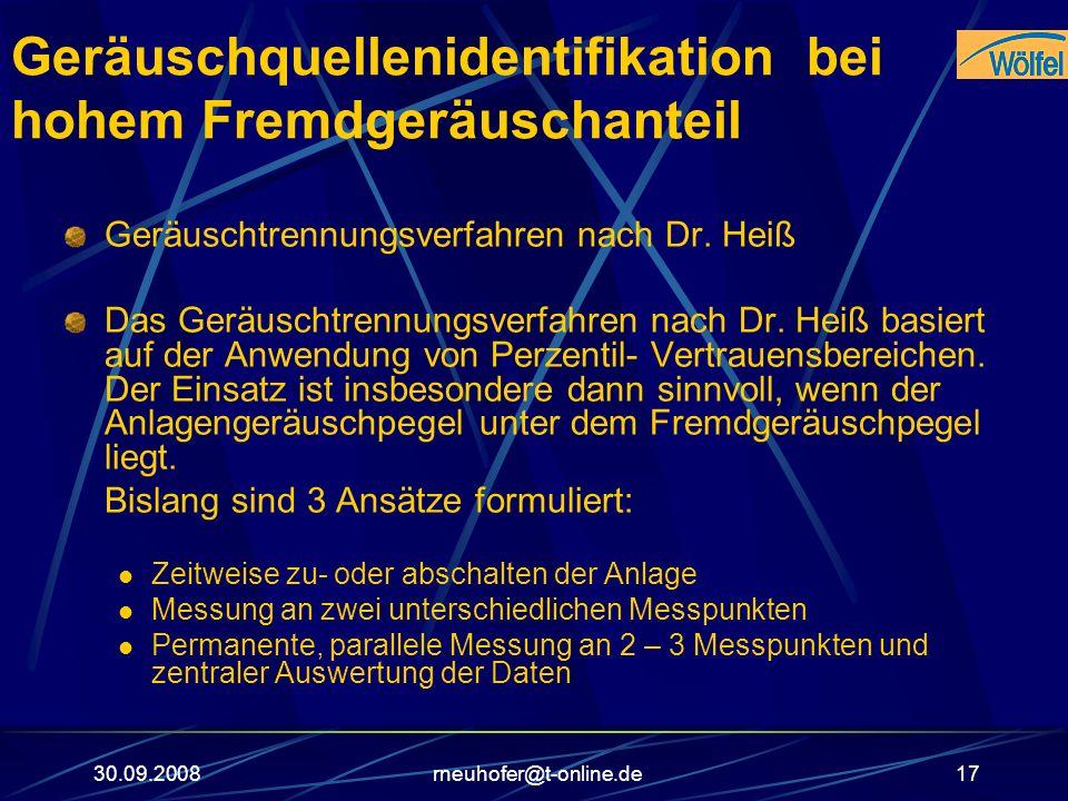 30.09.2008rneuhofer@t-online.de17 Geräuschquellenidentifikation bei hohem Fremdgeräuschanteil Geräuschtrennungsverfahren nach Dr. Heiß Das Geräuschtre