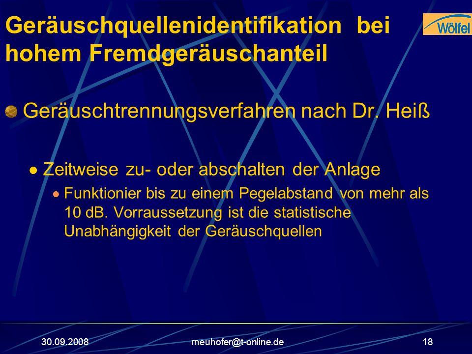 30.09.2008rneuhofer@t-online.de18 Geräuschquellenidentifikation bei hohem Fremdgeräuschanteil Geräuschtrennungsverfahren nach Dr. Heiß Zeitweise zu- o