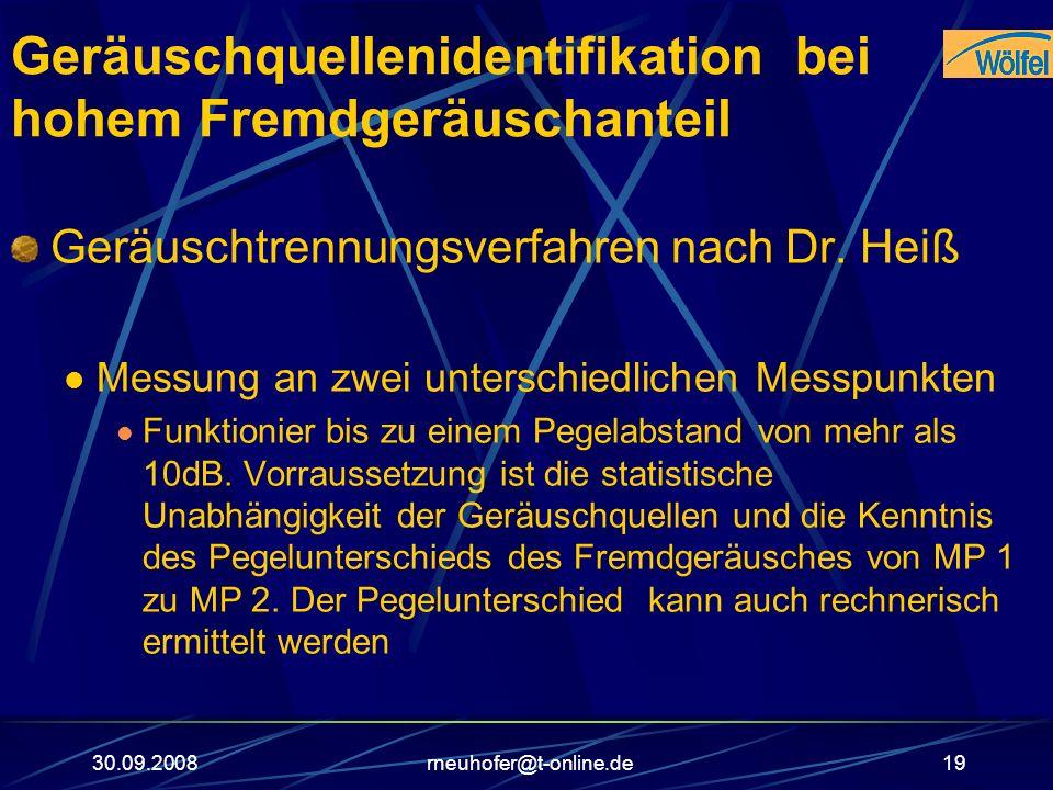 30.09.2008rneuhofer@t-online.de19 Geräuschquellenidentifikation bei hohem Fremdgeräuschanteil Geräuschtrennungsverfahren nach Dr. Heiß Messung an zwei