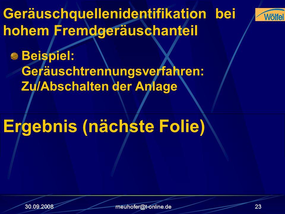 30.09.2008rneuhofer@t-online.de23 Geräuschquellenidentifikation bei hohem Fremdgeräuschanteil Beispiel: Geräuschtrennungsverfahren: Zu/Abschalten der
