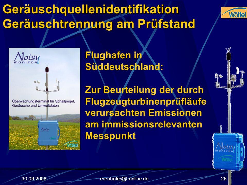 30.09.2008rneuhofer@t-online.de25 Flughafen in Süddeutschland: Zur Beurteilung der durch Flugzeugturbinenprüfläufe verursachten Emissionen am immissio