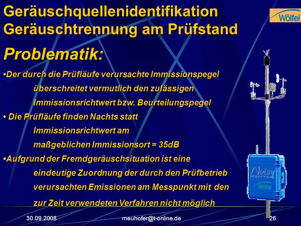 30.09.2008rneuhofer@t-online.de26 Problematik: Der durch die Prüfläufe verursachte Immissionspegel überschreitet vermutlich den zulässigen Immissionsr