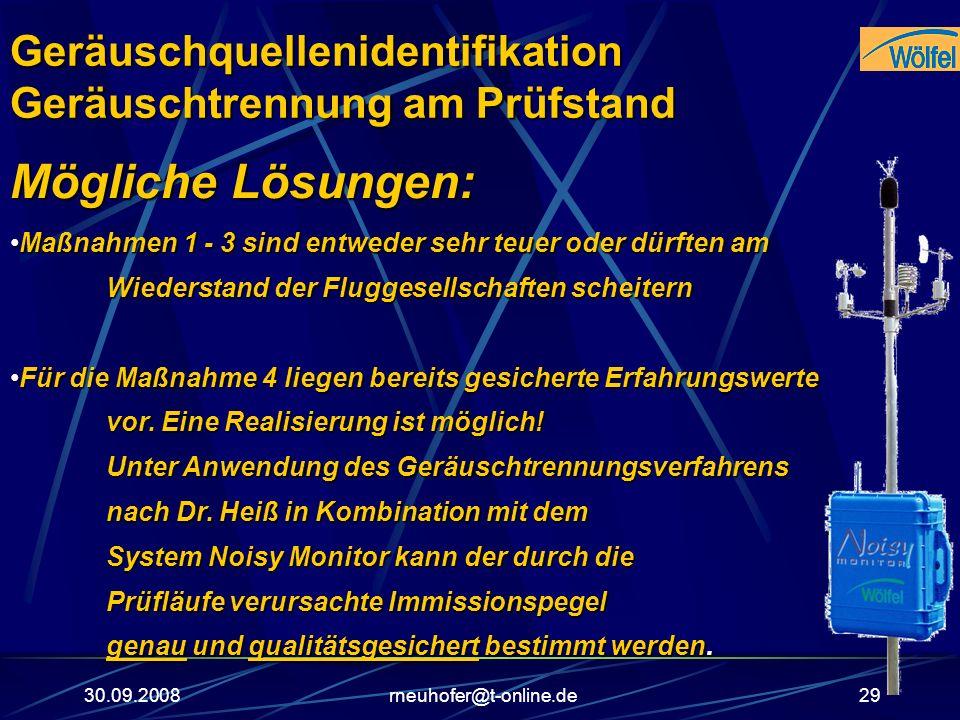 30.09.2008rneuhofer@t-online.de29 Mögliche Lösungen: Maßnahmen 1 - 3 sind entweder sehr teuer oder dürften am Wiederstand der Fluggesellschaften schei