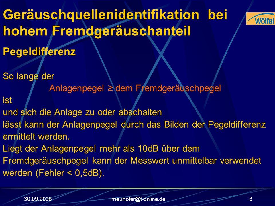 30.09.2008rneuhofer@t-online.de3 Geräuschquellenidentifikation bei hohem Fremdgeräuschanteil Pegeldifferenz So lange der Anlagenpegel dem Fremdgeräusc