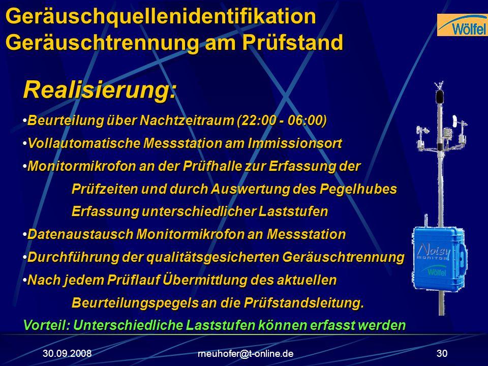 30.09.2008rneuhofer@t-online.de30 Realisierung: Beurteilung über Nachtzeitraum (22:00 - 06:00)Beurteilung über Nachtzeitraum (22:00 - 06:00) Vollautom