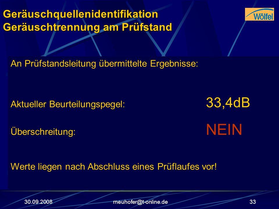 30.09.2008rneuhofer@t-online.de33 An Prüfstandsleitung übermittelte Ergebnisse: Aktueller Beurteilungspegel: 33,4dB Überschreitung: NEIN Werte liegen