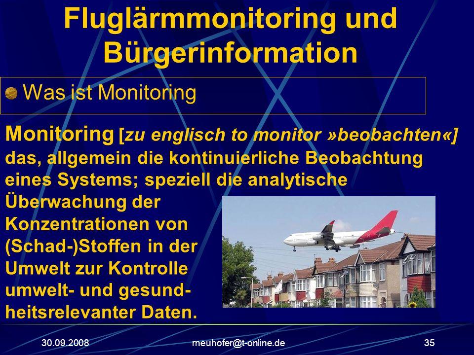 30.09.2008rneuhofer@t-online.de35 Fluglärmmonitoring und Bürgerinformation Was ist Monitoring Monitoring [zu englisch to monitor »beobachten«] das, al