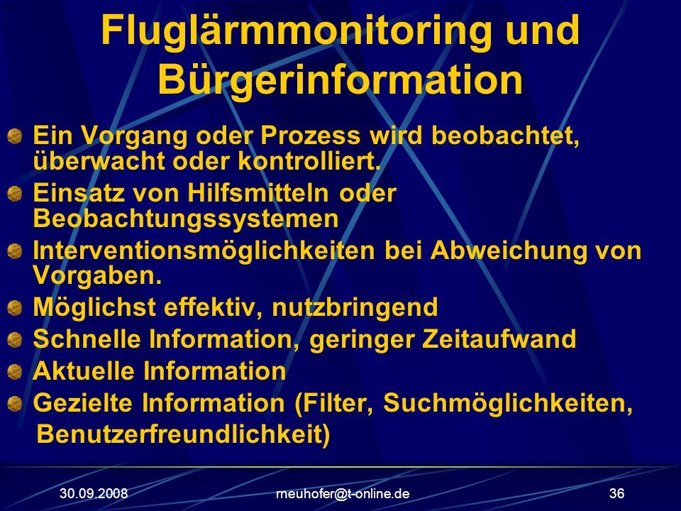 30.09.2008rneuhofer@t-online.de36 Fluglärmmonitoring und Bürgerinformation Ein Vorgang oder Prozess wird beobachtet, überwacht oder kontrolliert. Eins