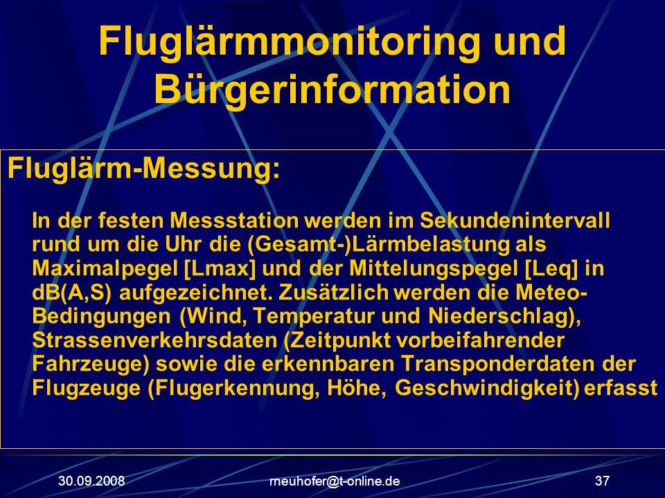30.09.2008rneuhofer@t-online.de37 Fluglärmmonitoring und Bürgerinformation Fluglärm-Messung: In der festen Messstation werden im Sekundenintervall run