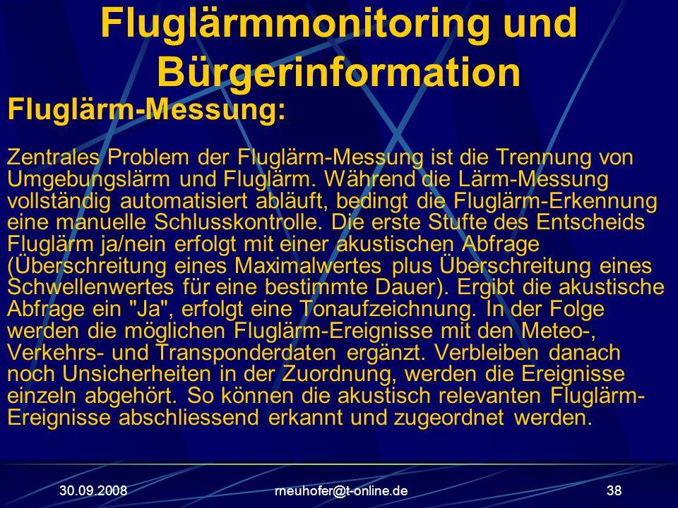 30.09.2008rneuhofer@t-online.de38 Fluglärmmonitoring und Bürgerinformation Fluglärm-Messung: Zentrales Problem der Fluglärm-Messung ist die Trennung v