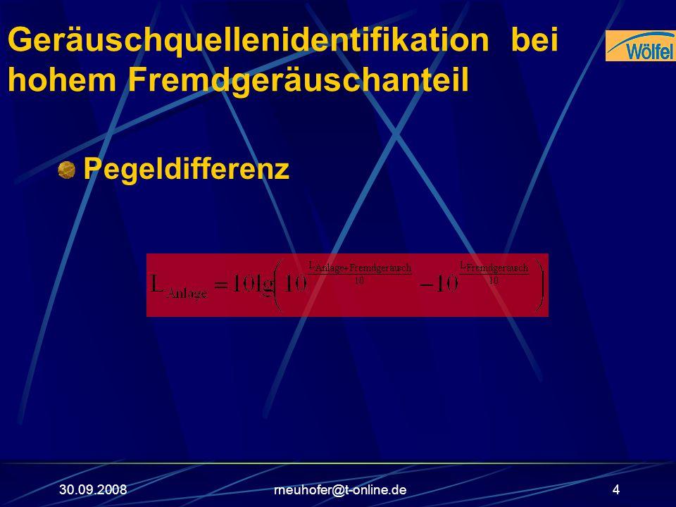 30.09.2008rneuhofer@t-online.de4 Geräuschquellenidentifikation bei hohem Fremdgeräuschanteil Pegeldifferenz