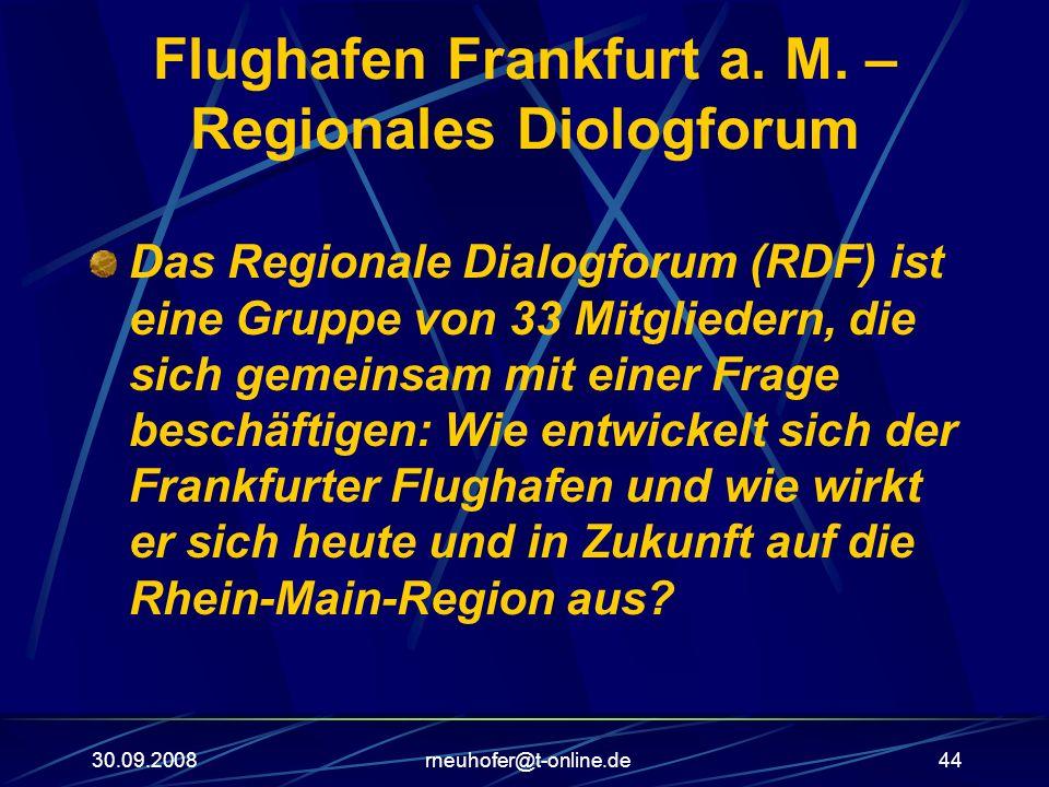 30.09.2008rneuhofer@t-online.de44 Flughafen Frankfurt a. M. – Regionales Diologforum Das Regionale Dialogforum (RDF) ist eine Gruppe von 33 Mitglieder