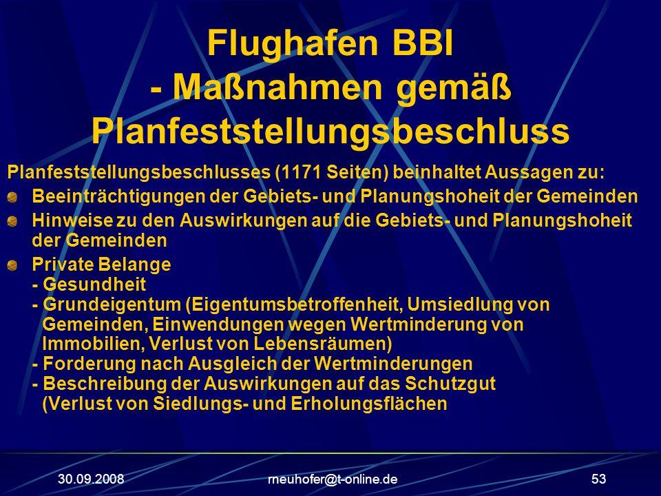 30.09.2008rneuhofer@t-online.de53 Flughafen BBI - Maßnahmen gemäß Planfeststellungsbeschluss Planfeststellungsbeschlusses (1171 Seiten) beinhaltet Aus