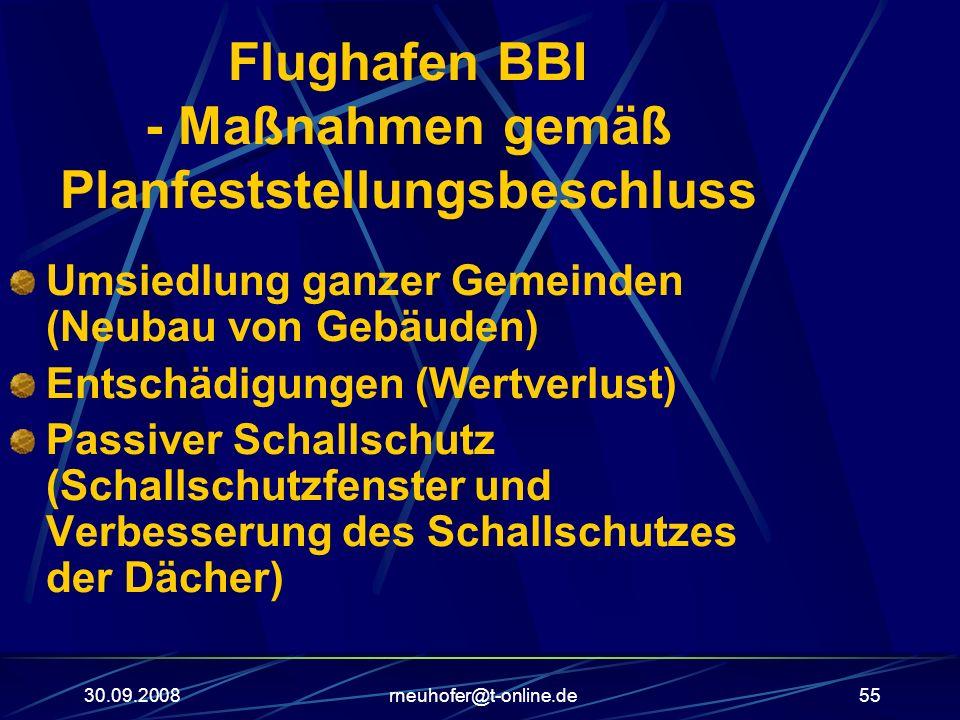 30.09.2008rneuhofer@t-online.de55 Flughafen BBI - Maßnahmen gemäß Planfeststellungsbeschluss Umsiedlung ganzer Gemeinden (Neubau von Gebäuden) Entschä
