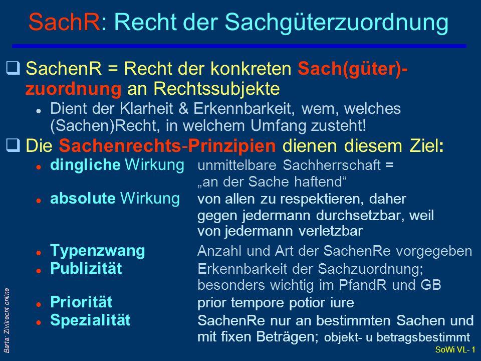 SoWi VL- 1 Barta: Zivilrecht online SachR: Recht der Sachgüterzuordnung qSachenR = Recht der konkreten Sach(güter)- zuordnung an Rechtssubjekte l Dien