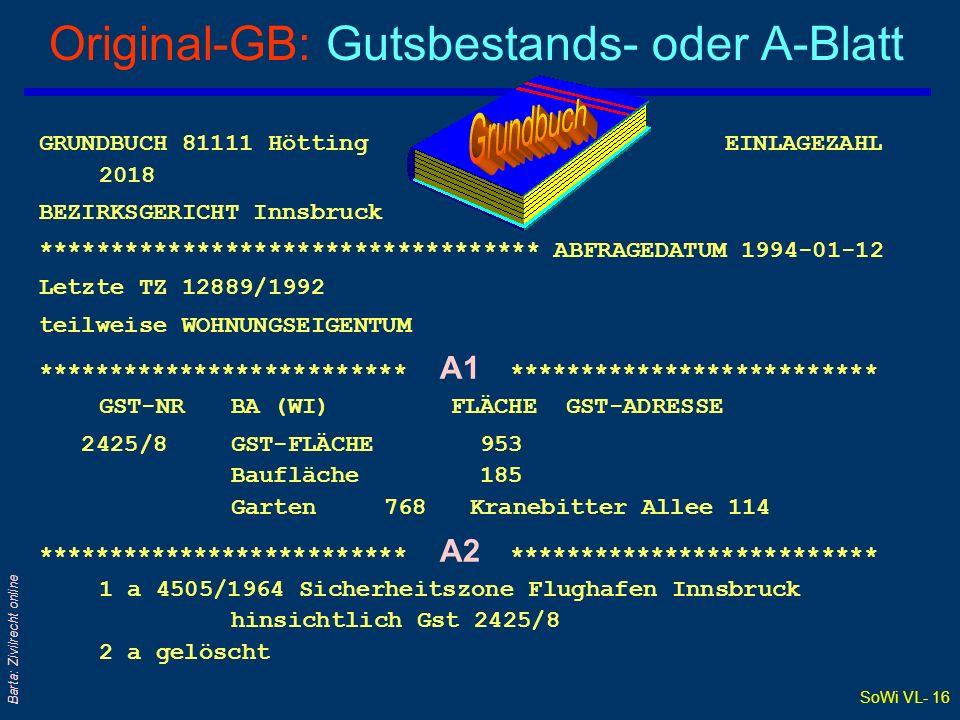 SoWi VL- 16 Barta: Zivilrecht online Original-GB: Gutsbestands- oder A-Blatt GRUNDBUCH 81111 Hötting EINLAGEZAHL 2018 BEZIRKSGERICHT Innsbruck *******