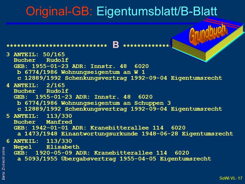 SoWi VL- 17 Barta: Zivilrecht online Original-GB: Eigentumsblatt/B-Blatt **************************** B **************************** 3ANTEIL: 50/165 B