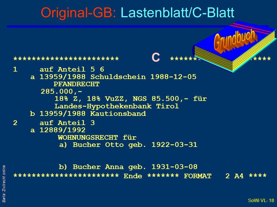 SoWi VL- 18 Barta: Zivilrecht online Original-GB: Lastenblatt/C-Blatt *********************** C ********************** 1 auf Anteil 5 6 a 13959/1988 S