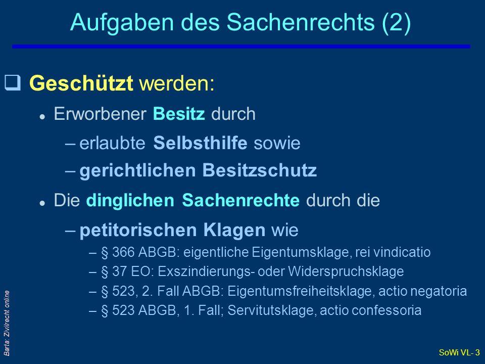 SoWi VL- 3 Barta: Zivilrecht online Aufgaben des Sachenrechts (2) qGeschützt werden: l Erworbener Besitz durch –erlaubte Selbsthilfe sowie –gerichtlic