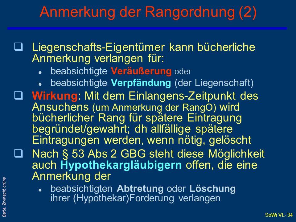 SoWi VL- 34 Barta: Zivilrecht online Anmerkung der Rangordnung (2) qLiegenschafts-Eigentümer kann bücherliche Anmerkung verlangen für: l beabsichtigte