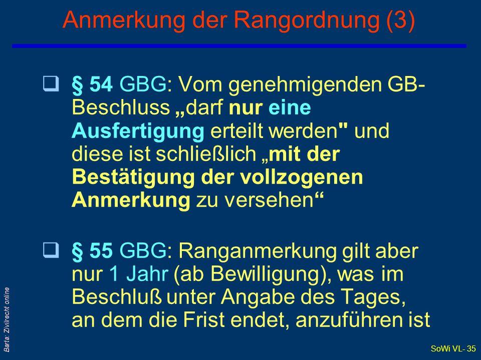 SoWi VL- 35 Barta: Zivilrecht online Anmerkung der Rangordnung (3) q§ 54 GBG: Vom genehmigenden GB- Beschluss darf nur eine Ausfertigung erteilt werde