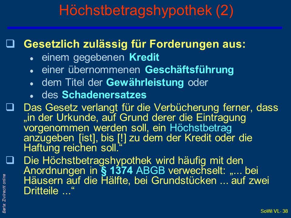 SoWi VL- 38 Barta: Zivilrecht online Höchstbetragshypothek (2) qGesetzlich zulässig für Forderungen aus: l einem gegebenen Kredit l einer übernommenen