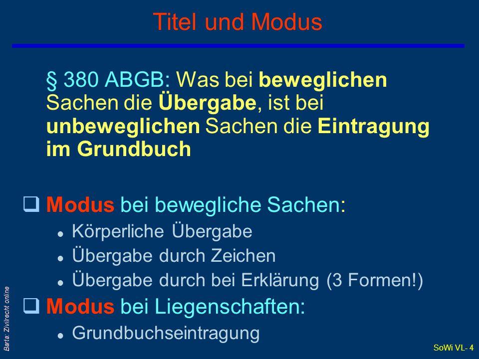 SoWi VL- 4 Barta: Zivilrecht online Titel und Modus § 380 ABGB: Was bei beweglichen Sachen die Übergabe, ist bei unbeweglichen Sachen die Eintragung i